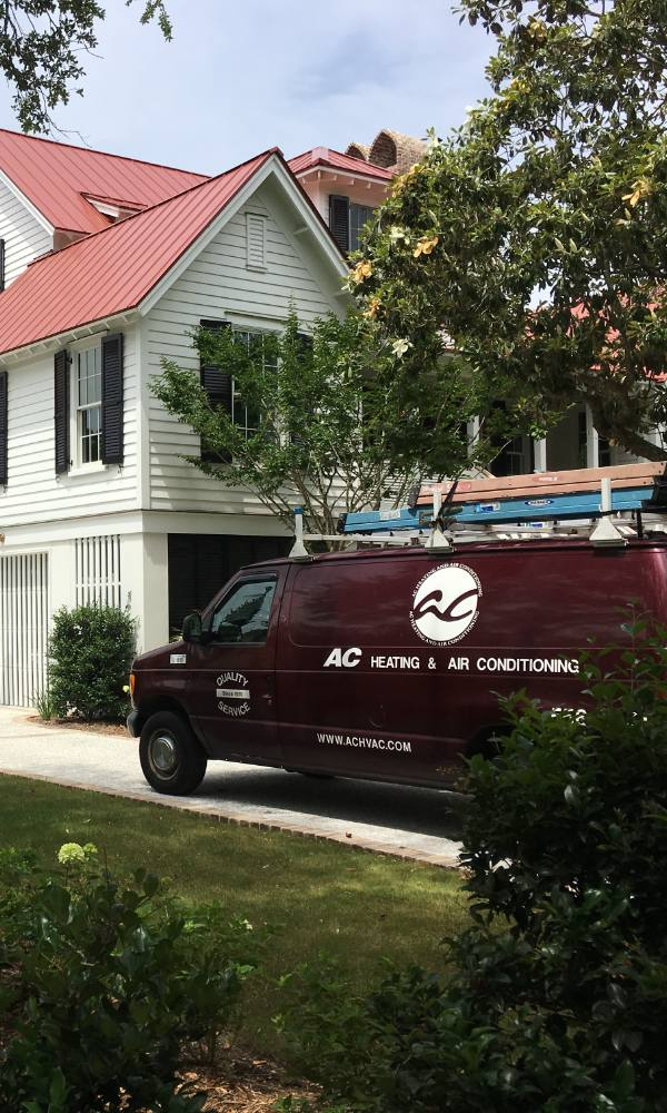 Ac Heating Air Conditioning Van In Front Of Home